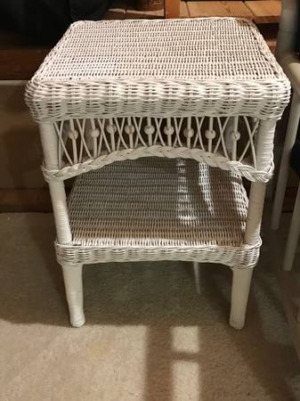 Photo SALE White Wicker End Tables - $50 (Kind of Blue, 919 Broad Street)