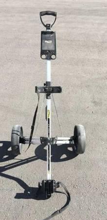 Photo Bag Boy 2 Wheel Folding Compact Push Cart Golf Bag Caddie - $30 (Meridian)