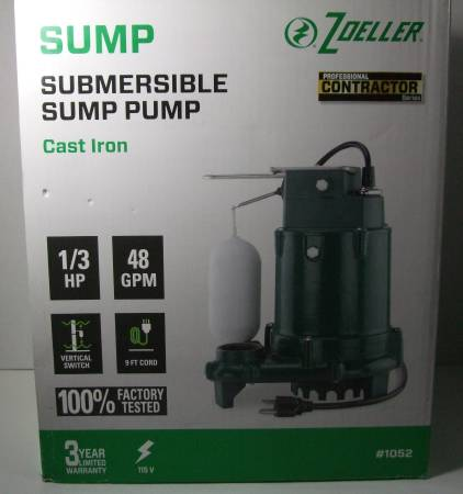 Photo New 13 HP Cast Iron Submersible Sump Pump - $145 (Cole and Victory area)