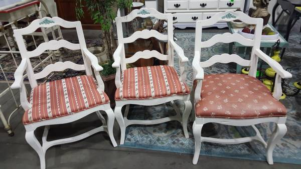 Photo 3 Antique Rose Back Parlor Arm Chairs (CANTON)