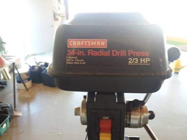 Photo Craftsman 34quot Radial Drill Press - $300 (Brownsboro)