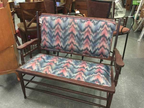 Photo Antique Wood Bench wPadded Seat and Back  - $85 (Whitehouse)