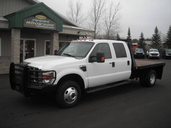 Photo 2008 ford f350 f-350 diesel new motor crew flatbed 4x4 4wd - $17995 (HWY 8 Forest Lake MN)