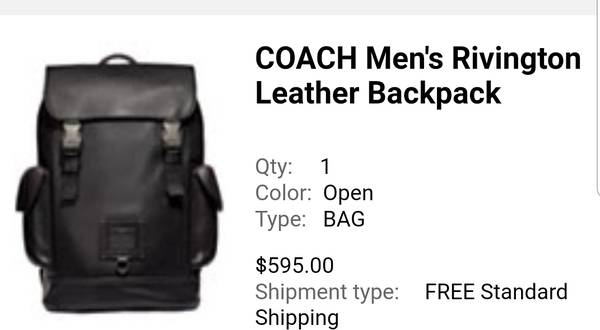 Photo COACH Men39s Rivington Leather Backpack Black - $500 (Menomonie)