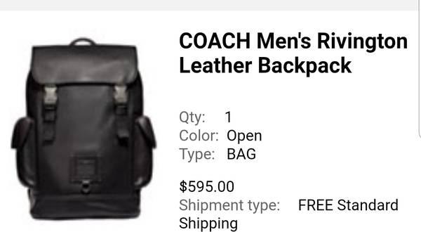 Photo COACH Men39s Rivington Leather Backpack Black - $450 (Menomonie)