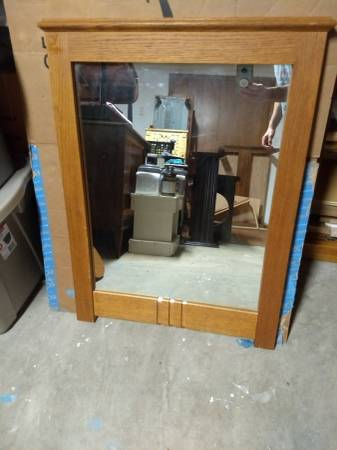 Photo Mirror - dresser size and solid oak - $40 (Eau claire)