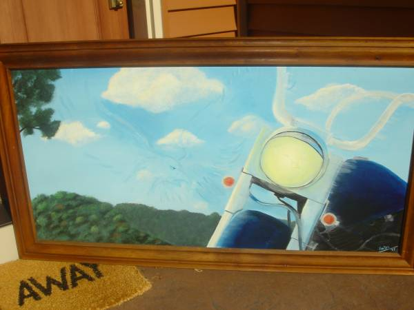 Photo Signed Canvas Motorcycle Eagle Painting with Superimposed Eagle Images - $75 (Eau Claire WI)