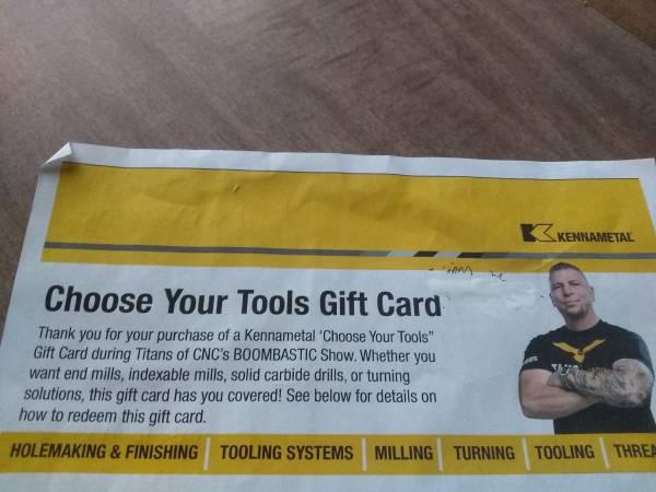 Photo $1000 Kennametal Tools Gift Card $100 - $100 (Elmira)