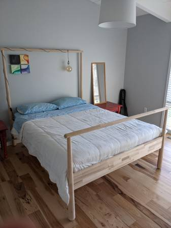Photo Ikea Gjora Queen Bed in Solid Birch and Mattress - $250 (Big Flats)