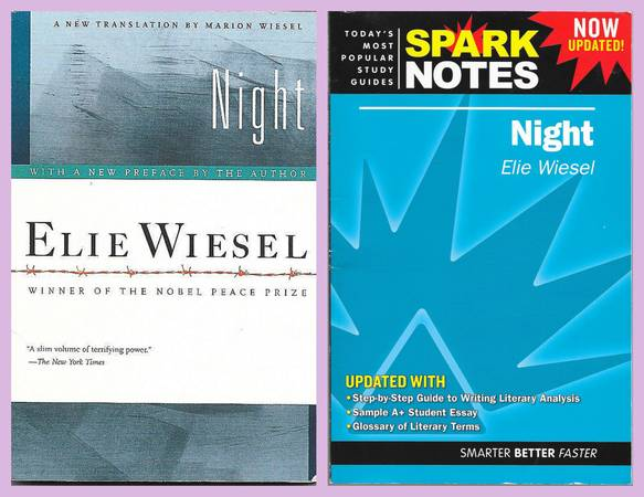 Photo 2 Book Set - Night by Elie Wiesel  SparkNotes Study Guide - $10 (El Paso)