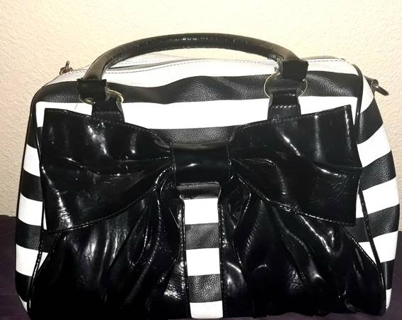 Photo Betsy Johnson black and white striped purse $35 or best offer - $35
