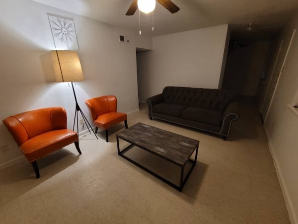 Photo Black sofa, two orange chairs, coffee table and a l. Selling everything or as - $450 (El Paso)