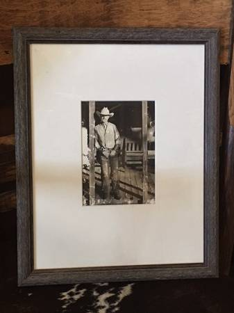 Photo Framed Glass Front Wood Frame Cowboy Photo Print - $20 (Abq or Edgewood)