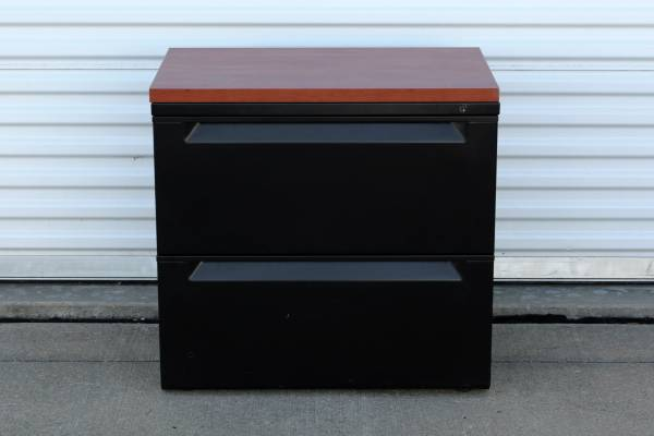 Photo Black Lateral File Cabinet With Wood Grain Style Top  2 Drawers - $175 (Broken Arrow, OK)