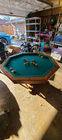 Photo dining room  poker  bumper pool all in one table with accessories - $700 (enid)