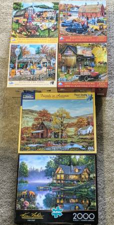 Photo 6 Puzzle Lot - White Mountain, Buffalo and SunsOut - Oversize Pieces - $40 (Waterford)