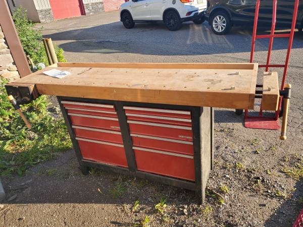Photo Craftsman tool box with built in bench top and 2 vices - $300 (Erie)