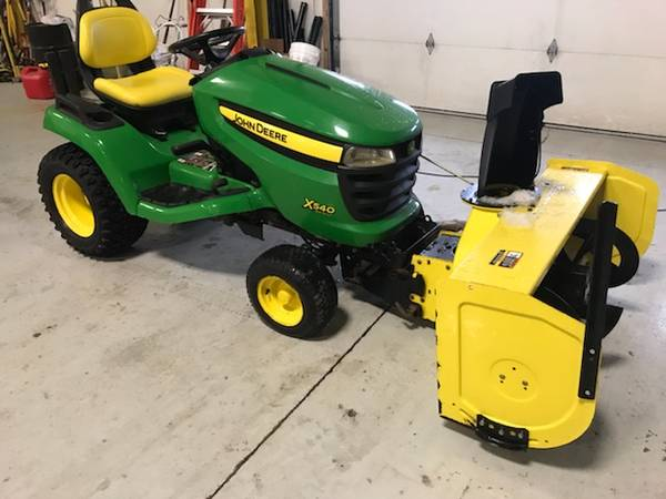 Photo John Deere X540 Lawn Tractor with Snow Blower - $5,500 (Erie)