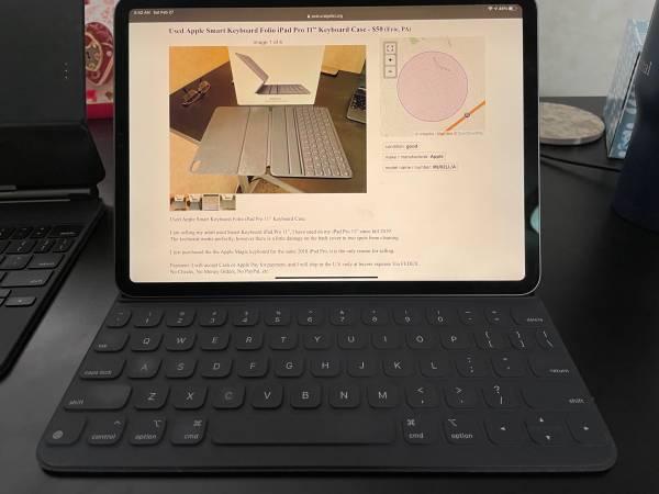 Photo Used Apple Smart Keyboard Folio iPad Pro 11 Keyboard Case - $50 (Erie, PA)