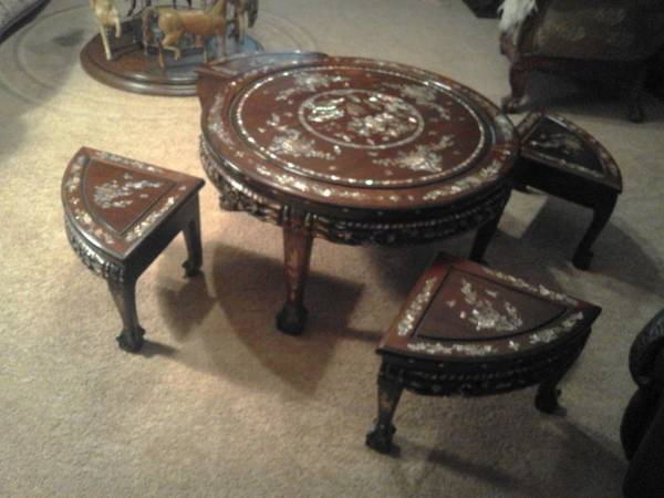Photo Vintage Wooden Oriental Round Table with 4 Stools - $250 (Mercer, PA)