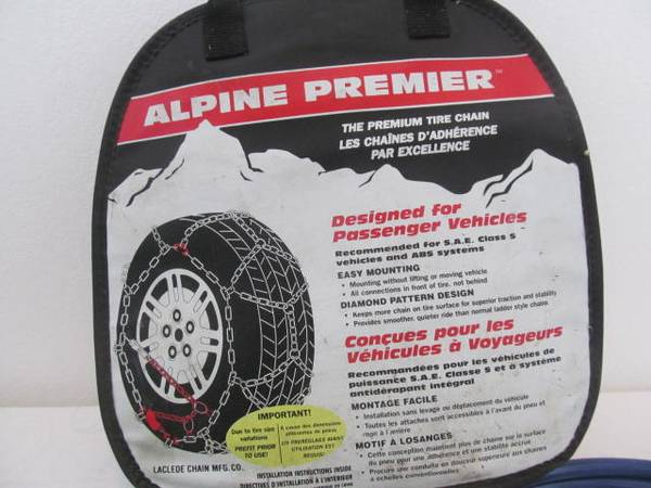 Photo 1515 tire chains, Alpine premeir 13quot 14quot 15quot - $25 (river road)