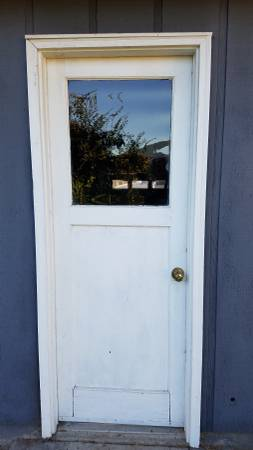 Photo Exterior prehung wood LH inswing 30 inch door with glass window - $45 (Oakridge)