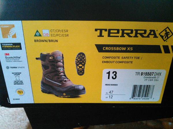 Photo NEW Terra Crossbow XS Work Boots Mens Size 13 - $120 (NW Eugene)