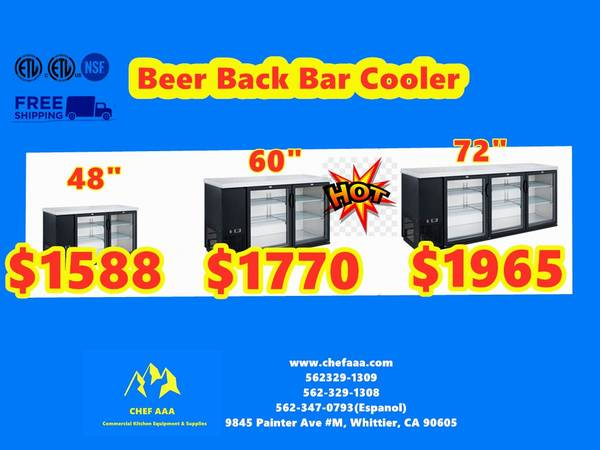 Photo -NSF 48607290Glass Back Bar Cooler(2-3- Door) CALL OR TE - $1588 (Whittier)