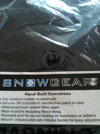 Photo New SNOWGEAR Studded Overshoes Mens Size 13 - $65 (NW Eugene)
