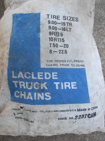 Photo tire chains 2237cam, truckRV - $50 (river road)