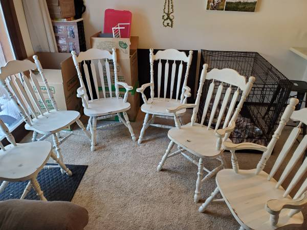 Photo 6 Real wood dining room chairs - $200 (North pole)