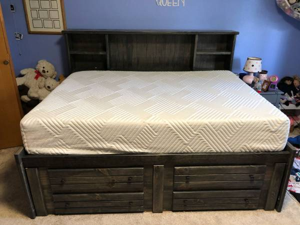 Photo Full size Captains Bed with memory foam mattress - $900