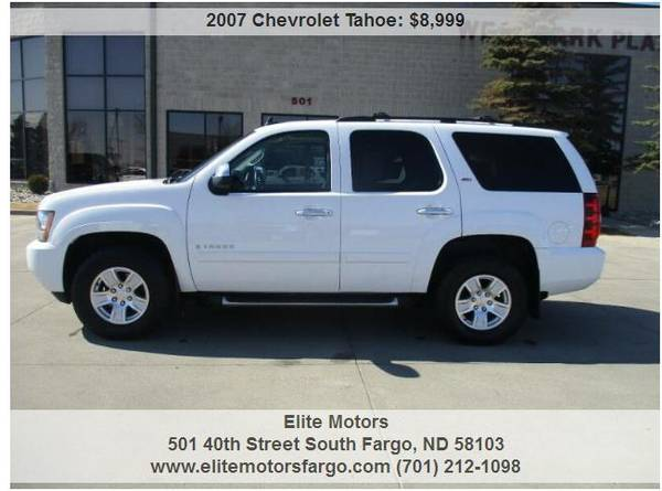Photo 2007 Chev rolet Tahoe LT wZ71, Leather, Buckets, Sun, Ent., Sharp - $8999 (Elite Motors Fargo)