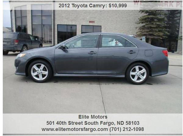 Photo 2012 Toyota Camry SE, Sunroof, Power Seat, Alloys, Local Trade, 72K - $10999 (Elite Motors Fargo)