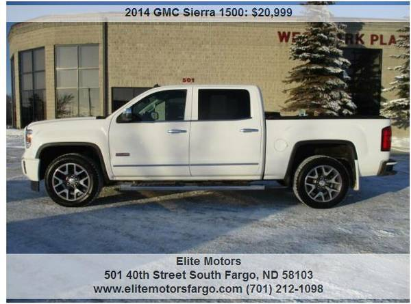 Photo 2014 GMC Sierra SLT, All Terrain, Crew Cab, Loaded, One Owner - $20999 (Elite Motors Fargo)