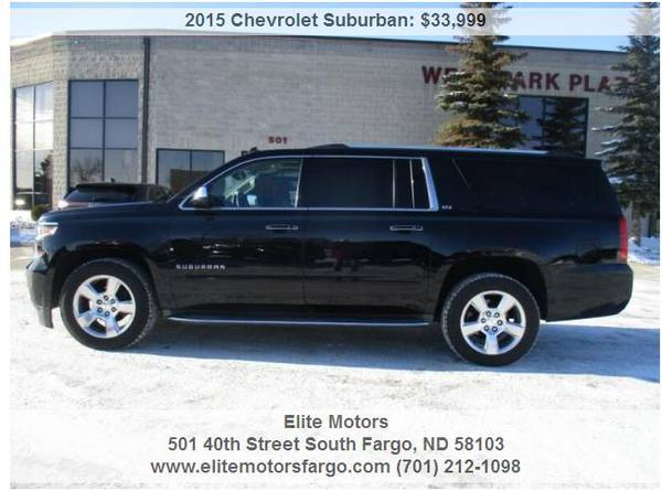 Photo 2015 Chev Suburban, LTZ, Leather, Buckets, Sun, Nav, Rear Ent., 2039S - $33999 (Elite Motors Fargo)