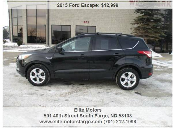Photo 2015 Ford Escape SE, AWD, Htd. Seats, Rear Camera, Alloys, Beautiful - $12999 (Elite Motors Fargo)
