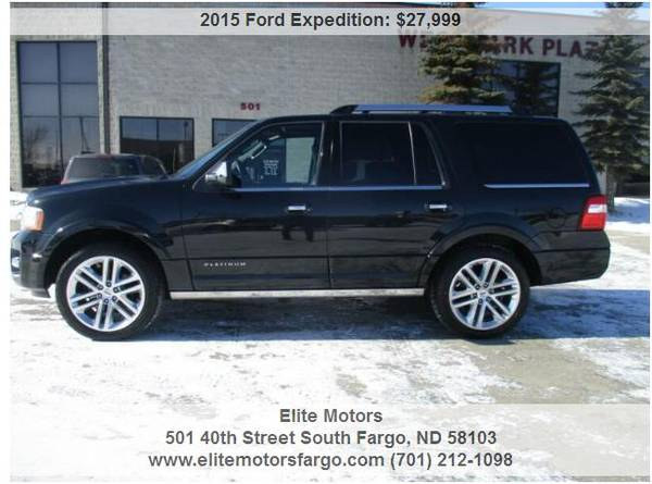 Photo 2015 Ford Expedition Platinum, Leather, Sun, Nav, 2239S, One Owner - $27999 (Elite Motors Fargo)