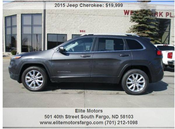 Photo 2015 Jeep Cherokee Limited, Leather, Panoramic Sun, Nav, Loaded 37K - $19999 (Elite Motors Fargo)
