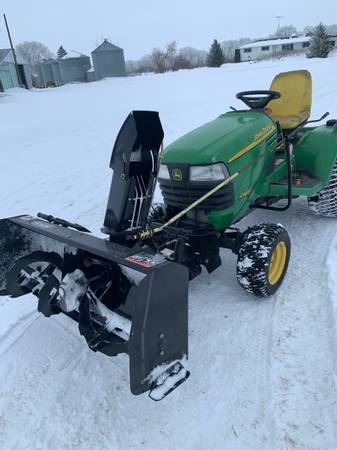 Photo John Deere X585 4x4 mower with new Berco snowblower 62quot deck - $7000