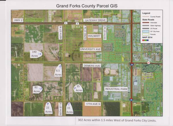 Photo Land For Sale  302.6 acres within 1.5 miles West of Grand Forks, ND (Grand Forks, ND)