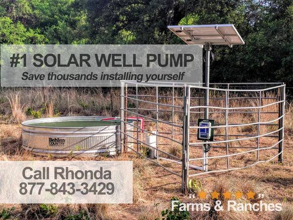 Photo Live the Fantasy with Watering BigFlow 3 diameter Solar well Pump - $1,550 (fargo)