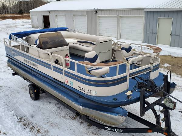 Photo Newly Refurbished 2039 Pontoon Boat 50 HP EFI 4-STROKE Trailer Options - $12900 (Remer, MN)