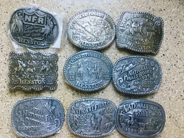 Photo Rodeo Belt Buckles NFR HESSTON collection Mint - $10 (Fargo)