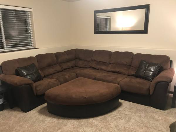 Photo Sectional Couch with Ottoman - $700