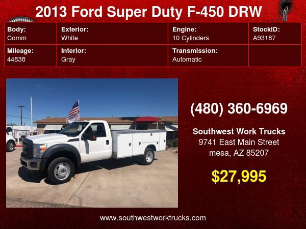 Photo 2013 FORD SUPER DUTY F-450 WITH ROYAL SERVICE UTILITY BED WITH JUST 40 - $27995 (Over 100 Work Trucks and Vans for sale)