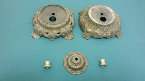 Photo 2 BRASS LAMP BASES, A BRASS TOP PLATE, 2 WHITE BRASS ROD DECOR BEADS - $15 (NEAR COORS AND PASEO)