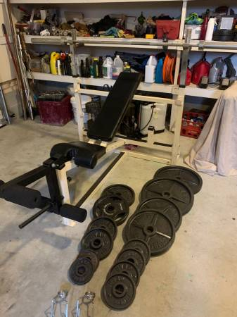 Photo Olympic Weight BenchLegs 300 LB Olympic Weight SetCan Squat on Rear - $340 (Hope Mills)