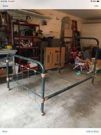 Photo Antique Full Size Iron Bed Frame - $150 (Canandaigua)