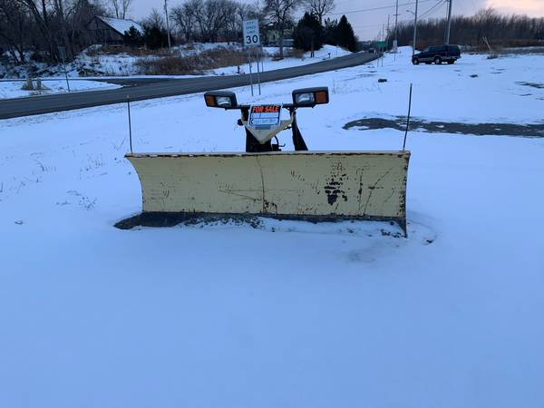 Photo Fisher snow plow with blade, frame and electric motor and lights - $500 (Canandaigua)